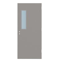 "1815-3068-SVL627 - 3'-0"" x 6'-8"" Steelcraft / Amweld / DKS Hinge Commercial Hollow Metal Steel Door with 6"" x 27"" Low Profile Beveled Vision Lite Kit, 161 Cylindrical Lock and Deadbolt Prep 4"" CTC, 18 Gauge, Polystyrene Core"