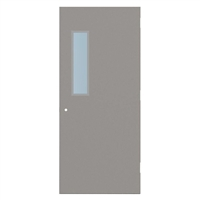 "1840-3070-SVL627 - 3'-0"" x 7'-0"" Steelcraft / Amweld / DKS Hinge Commercial Hollow Metal Steel Door with 6"" x 27"" Low Profile Beveled Vision Lite Kit, 161 Cylindrical Lock Prep, 18 Gauge, Polystyrene Core"