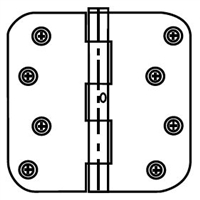 "Ultra Hardware 35425, 4"" X 4"" Door Hinge, 2.2Mm Gauge, Nrp Pin, 5/8"" Radius Corner, Plain Bearing, White Prime/Usp"