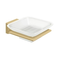Deltana 55D2012-4 - Frosted Glass Soap Dish, 55D Series, Brushed Brass Finish