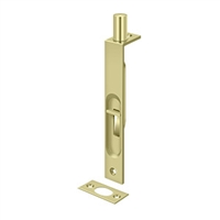"6Fbs3-Unl - 6"" Flush Bolt, Hd, Square - Unlacquered Brass Finish"