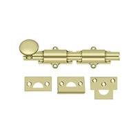 "Deltana 6Sb3-Unl - 6"" Surface Bolt, Hd - 	Unlacquered Brass Finish"