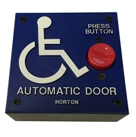 "ADH Select Commercial Automatic Door 4"" X 4"" Handicap Push Button Assembly With Handicap Logo and ""Press Button"" Text With Black Surface Mount Box For Horton Automatic Door"