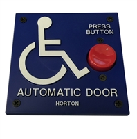 "ADH Select Commercial Automatic Door 4"" X 4"" Handicap Push Button Assembly With Handicap Logo and ""Press Button"" Text For Horton Automatic Door"