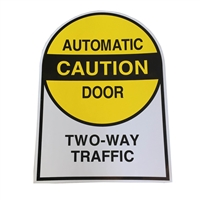 "ADH Select Commercial Automatic Sliding Door ""Caution Automatic Door Two-Way Traffic"" Double Sided Decal Sticker, ANSI and ADA Compliant"