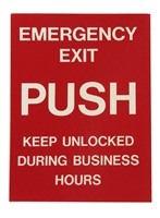 "ADH Select Commercial Automatic Sliding Door ""Emergency Exit Push Keep Unlocked During Business Hours"" Red Single Sided Decal, ANSI and ADA Compliant"