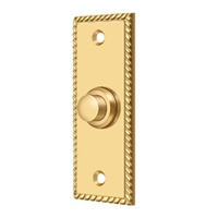 Deltana Bbsr333Cr003 - Bell Button, Rectangular Rope - Pvd Polished Brass Finish
