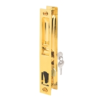 Prime Line C 1160 Sliding Door Handle Set With Key, Brass Plated