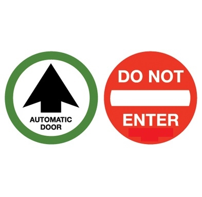 """""""Automatic Door"""" / """"Do Not Enter"""" Double Sided Decal"""