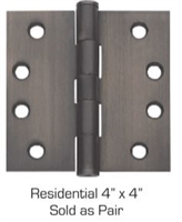"(Set Of 2) Global Door Controls Cp4040-Us15, 4""X4"" Residential Steel Hinge In Satin Nickel"