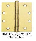"Global Door Controls Cp4545-Us4 4.5"" X 4.5"" Plain Bearing, Commercial Template Hinge In Satin Brass"
