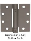 "Global Door Controls Cps4545-10B 4.5"" X 4.5"" Full Mortise Spring Hinge In Satin Brass"