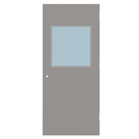 "CU1813-3068-SVL2424 - 3'-0"" x 6'-8"" Curries Hinge Commercial Hollow Metal Steel Door with 24"" x 24"" Low Profile Beveled Vision Lite Kit, 161 Cylindrical Lock Prep, 18 Gauge, Polystyrene Core"
