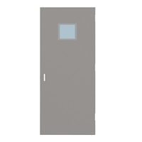 "CU1818-3068-SVL1212 - 3'-0"" x 6'-8"" Curries Hinge Commercial Hollow Metal Steel Door with 12"" x 12"" Low Profile Beveled Vision Lite Kit, 86 Mortise Edge Prep, 18 Gauge, Polystyrene Core"