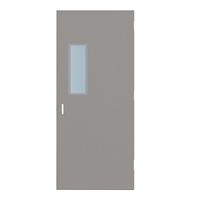 "CU1818-3068-SVL722 - 3'-0"" x 6'-8"" Curries Hinge Commercial Hollow Metal Steel Door with 7"" x 22"" Low Profile Beveled Vision Lite Kit, 86 Mortise Edge Prep, 18 Gauge, Polystyrene Core"