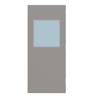 "CU1824-3068-SVL2424 - 3'-0"" x 6'-8"" Curries Hinge Commercial Hollow Metal Steel Door with 24"" x 24"" Low Profile Beveled Vision Lite Kit, Blank Edge with Reinforcement, 18 Gauge, Polystyrene Core"