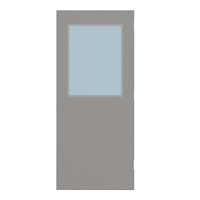 "CU1824-3068-SVL2436 - 3'-0"" x 6'-8"" Curries Hinge Commercial Hollow Metal Steel Door with 24"" x 36"" Low Profile Beveled Vision Lite Kit, Blank Edge with Reinforcement, 18 Gauge, Polystyrene Core"