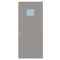 "CU1840-3070-SVL1212 - 3'-0"" x 7'-0"" Curries Hinge Commercial Hollow Metal Steel Door with 12"" x 12"" Low Profile Beveled Vision Lite Kit, 161 Cylindrical Lock Prep, 18 Gauge, Polystyrene Core"