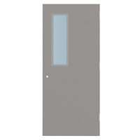 "DE1813-3068-SVL832 - 3'-0"" x 6'-8"" Dean Steel / Mesker Hinge Commercial Hollow Metal Steel Door with 8"" x 32"" Low Profile Beveled Vision Lite Kit, 161 Cylindrical Lock Prep, 18 Gauge, Polystyrene Core"