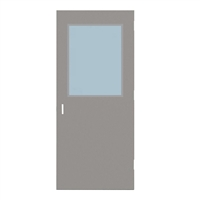 "DE1818-3068-SVL2436 - 3'-0"" x 6'-8"" Dean Steel / Mesker Hinge Commercial Hollow Metal Steel Door with 24"" x 36"" Low Profile Beveled Vision Lite Kit, 86 Mortise Edge Prep, 18 Gauge, Polystyrene Core"