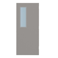"DE1824-3068-SVL832 - 3'-0"" x 6'-8"" Dean Steel / Mesker Hinge Commercial Hollow Metal Steel Door with 8"" x 32"" Low Profile Beveled Vision Lite Kit, Blank Edge with Reinforcement, 18 Gauge, Polystyrene Core"