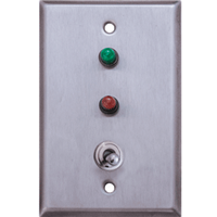 Deltrex 101 - 101 Series Robust 2 Position Toggle Switch With Mustang Actuator Mounted On A Stainless Steel Plate.
