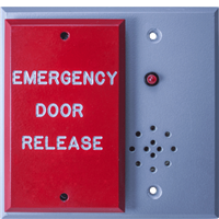 "Deltrex C3767 - Fail-Safe Emergency Exit Release. Push Plate Control Assemblies Consist Of Wide Push Plate On Recessed Back Plate With Sounder And Red Power ""On"" Led."