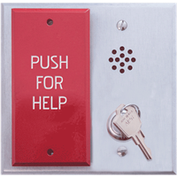Deltrex C3800 - Fail-Safe Emergency Exit Release Push Plate Mounted On A Wide Aluminum Push Plate.