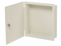 "Deltrex Fmc1 - 14-3/8"" X 14-3/8"" X 3-1/2"" Yoke-White Steel Flush-Mount Cabinet."