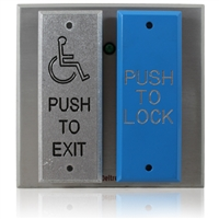Deltrex T108 - Push Plate Switch Assemblies Consist Of A 2 Narrow Push Plates On A 2-Gang Box Back Plate