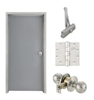 "Commercial Steel Door and Frame, 2'-4"" x 6'-8"", 3 Hour Fire Rated, Left Hand, Gray Flush 18 Gauge Hollow Metal Door with 5-5/8"" Jamb Depth 16 Gauge Drywall Knock Down Frame, Door Closer, Knob and Hardware"