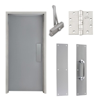 "Commercial Steel Door and Frame, 4'-0"" x 6'-8"", 3 Hour Fire Rated, Left Hand, Gray Flush 18 Gauge Hollow Metal Door with 5-5/8"" Jamb Depth 16 Gauge Drywall Knock Down Frame, Door Closer, Push / Pull Plate and Hardware"