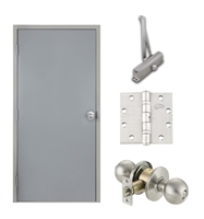"Commercial Steel Door and Frame, 2'-4"" x 6'-8"", 3 Hour Fire Rated, Left Hand Reverse, Gray Flush 18 Gauge Hollow Metal Door with 5-5/8"" Jamb Depth 16 Gauge Drywall Knock Down Frame, Door Closer, Knob and Hardware"