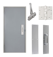 "Commercial Steel Door and Frame, 4'-0"" x 6'-8"", 3 Hour Fire Rated, Left Hand Reverse, Gray Flush 18 Gauge Hollow Metal Door with 5-5/8"" Jamb Depth 16 Gauge Drywall Knock Down Frame, Door Closer, Push / Pull Plate and Hardware"