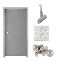 "Commercial Steel Door and Frame, 2'-4"" x 6'-8"", 3 Hour Fire Rated, Right Hand, Gray Flush 18 Gauge Hollow Metal Door with 5-5/8"" Jamb Depth 16 Gauge Drywall Knock Down Frame, Door Closer, Knob and Hardware"