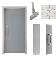 "Commercial Steel Door and Frame, 4'-0"" x 6'-8"", 3 Hour Fire Rated, Right Hand, Gray Flush 18 Gauge Hollow Metal Door with 5-5/8"" Jamb Depth 16 Gauge Drywall Knock Down Frame, Door Closer, Push / Pull Plate and Hardware"