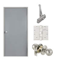 "Commercial Steel Door and Frame, 3'-8"" x 6'-8"", 3 Hour Fire Rated, Right Hand Reverse, Gray Flush 18 Gauge Hollow Metal Door with 5-5/8"" Jamb Depth 16 Gauge Drywall Knock Down Frame, Door Closer, Knob and Hardware"