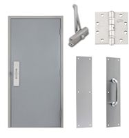 "Commercial Steel Door and Frame, 4'-0"" x 6'-8"", 3 Hour Fire Rated, Right Hand Reverse, Gray Flush 18 Gauge Hollow Metal Door with 5-5/8"" Jamb Depth 16 Gauge Drywall Knock Down Frame, Door Closer, Push / Pull Plate and Hardware"