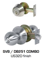 Global Door Controls Dl-Svb53Db251-Us32D Svb Series Commercial Grade 2 Knob, Combination Entry Knob W/ Single Cyl. Deadbolt, Us32D Satin Stainless Steel Finish