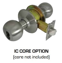 Global Door Controls Dl-Svb53Ic-Us3 Svb Series Commercial Grade 2 Knob, Entrance Ic Core Knob (Less) Core, Us3 Bright Brass Finish