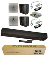 Ditec Ez36 All-In-One Ada Handicap Door Opener Kit, Pull Application, Dark Bronze Anodized Finish