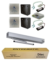 Ditec Ez36 All-In-One Ada Handicap Door Opener Kit, Universal Arm With Extended Pull Track