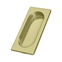 "Deltana Fp4134U3-Unl - Flush Pull, Large, 3-7/8"" X 1-5/8"" X 3/8"" - Unlacquered Brass Finish"