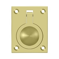 "Deltana Frp25U3 - Flush Ring Pull, 2 1/2""X 1 7/8"" - Polished Brass Finish"