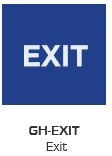 Global Door Controls Gh-Exit-Blue, Signage, Ada Compiant, Push Plate, Exit, In Blue