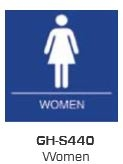 Global Door Controls Gh-S440-Blue, Signage, Ada Compiant, Push Plate, Women Restroom, In Blue