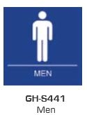 Global Door Controls Gh-S441-Bk, Signage, Ada Compiant, Push Plate, Men Restroom, In Black