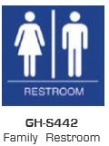 Global Door Controls Gh-S442-Blue, Signage, Ada Compiant, Push Plate, Family Restroom, In Blue