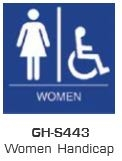 Global Door Controls Gh-S443-Blue, Signage, Ada Compiant, Push Plate, Women Handicap Restroom, In Blue