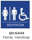 Global Door Controls Gh-S444-Blue, Signage, Ada Compiant, Push Plate, Family Handicap Restroom, In Blue